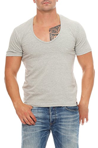 Gennadi Hoppe Herren T-Shirt V-Ausschnitt Slim Fit Freizeit V-Neck Kurzarm Hellgrau
