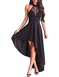 COSIVIA Mujer Elegantes Sheer Mesh Sin mangas Alto bajo Larga Vestidos de noche abrir de nuevo Largo maxi Vestido fiesta Vestido Vestido…