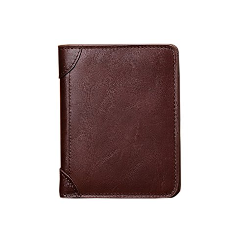 Leder Handgefertigte Geldbörse Wallet (Qinlee Herren Vertical Wallet RFID-blockierender Handgefertigt Slim Geldbörse Leder Kreditkarte Holder Slim Wallet, Herren, Stil 2, 12 * 10 * 1cm)