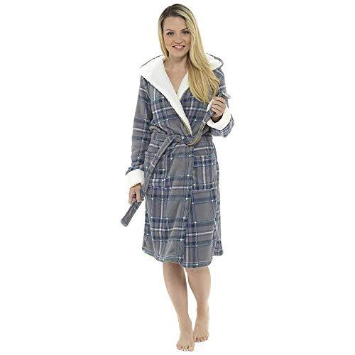 Style It Up - Albornoz Capucha Mujer Grey Check Snuggle