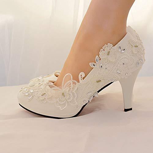 LUDAGED Tacchi Alti Scarpe da Sposa Strass Sposa Scarpe da Donna Bianche Piattaforma Donna Tacchi Alti Scarpe da Donna di Grandi Dimensioni