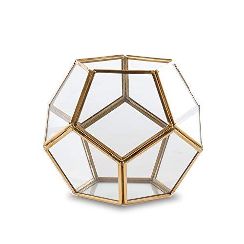 Madeleine Home Rochefort Laterne für Kerzen, Messing, dekorativ, antikes Glas, Metall, 15 x 15 x 15 cm - Messing-glas Kerze