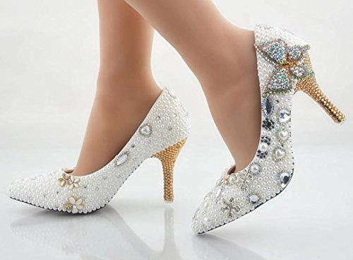 Ycmdm Femmes Chaussures De Cristal À La Main Chaussures De Mariage Ultra - Haute Avec Riz Plateforme Etanche White