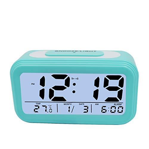 KidsPark Wecker Digital, Digitaler Wecker LED Kinderwecker mit Datum Temperatur Anzeige Batterie Digitalwecker Reisewecker mit Snooze und Nachtlicht Funktion, Blau