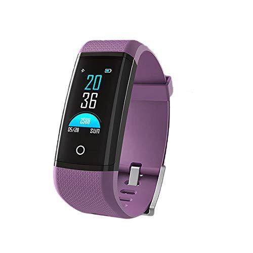 CXL Wasserdicht Herzfrequenz-Monitor Farbe Bildschirm Smart Armband Herz im Blut Sauerstoff WeChat-Schrittzähler Sport-Armband für Android und iOS,Purple