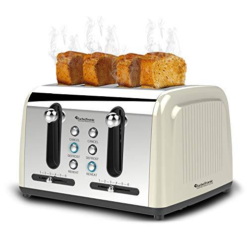 4-Scheiben Langschlitz-Toaster mit 1500W, Aufwärm- / Auftaufunktion, inkl. Brötchenaufsatz Krümelschublade, Retro-Design
