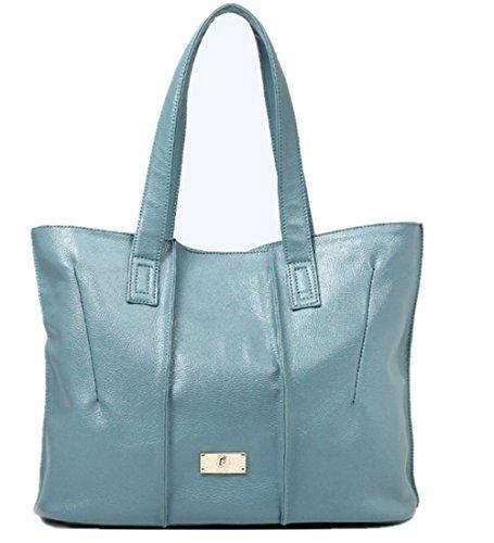 Wealsex Sac A Main Bandouliere Cuir Souple Porté Epaule Sacoche Shopping OL Fourre-tout Mode Classique Taille 43 * 13 * 30 CM Femme bleu