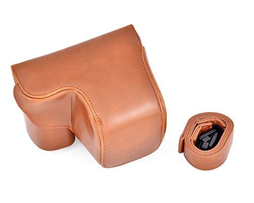 DSstyles Leder Kameratasche für Sony A6000 Kamera Retro Kamera Tasche Tasche Schutzhülle für Sony Alpha 6000 mit Kamera Strap - Braun