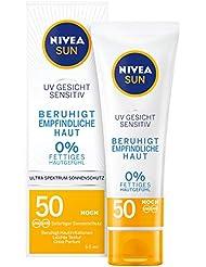 NIVEA SUN UV Gesicht Sensitiv Sonnencreme im 1er Pack (1 x 50 ml), Gesichtscreme mit LSF 50+ für sensible Haut, Sonnenschutz beruhigt Hautirritationen