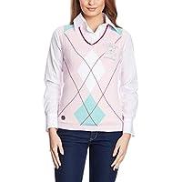 Xfore Chaleco de Golf de Punto con diseño Rombos para Mujer, Elverson,Color Rosa