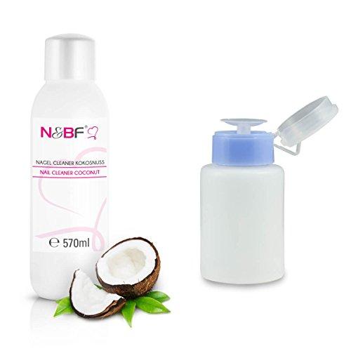 Cleanser Zum Reinigen (N&BF Nagel Cleaner Set mit Duft 570ml + Dispenser Pumpflasche 150ml - 70% Isopropanol-Alkohol - für Gelnägel - Nagelreiniger - kosmetisch rein in Studioqualität zum Reinigen und Entfetten (Kokosnuss))