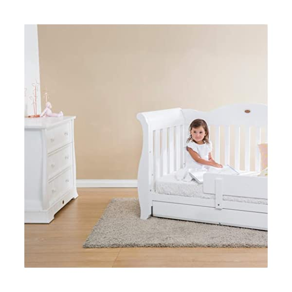 Boori Sleigh Royale 2 Piece Nursery Room Set, Wood, Barley White Boori Boori 2 piece nursery furniture set including the Sleigh Royale Cot Bed and Sleigh 3 Drawer Chest with removable changing station. Cot bed made with 100% sustainable solid wood, dresser made with sustainable solid wood parts. All Boori cot beds convert to a toddler bed suitable from birth to 5 years. (Toddler Guard Panel available separately). 2