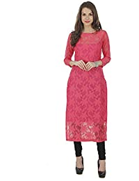 The Bebo Pink Pure Nylon Net Straight Elegant Kurti For Womens & Girls