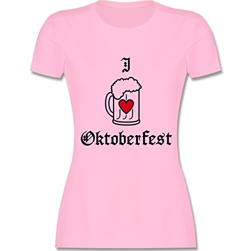 Oktoberfest Damen - Oktoberfest Love Bier - tailliertes Premium T-Shirt mit Rundhalsausschnitt für Damen Rosa