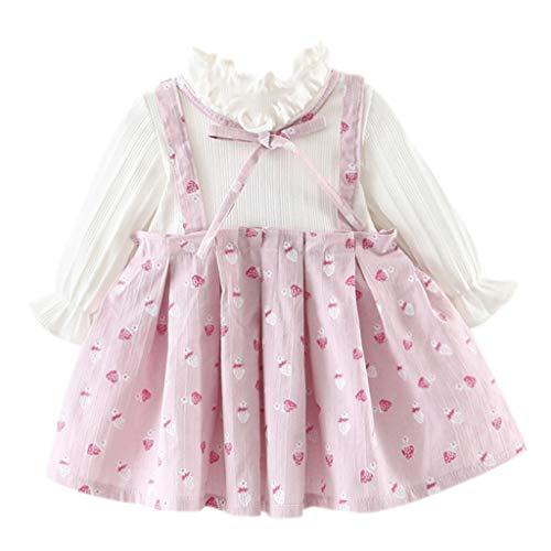 HEETEY Mädchen Outfits Kleinkind-Kind-Baby Lange Hülse gedruckt Bogenparty Erdbeer-Blumen-Bogen-Kleid Prinzessin Kleid Kleidung