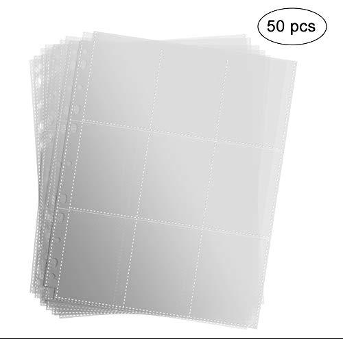 Erlliyeu 450 Pockets Sammelkarten 50 Seiten Pro 9-Pocket Leere Transparent Sammelmapp,Album Ordnerseiten für Trading Cards