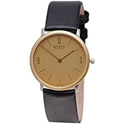 Stahl SWISS MADE Wrist Watch Model: ST61134 - Gold Plated - MidSize 30mm Case - Arabic and Bar Gold Dial
