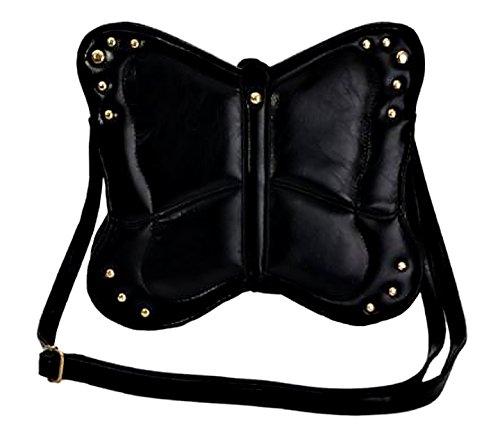 Phoebe Schmetterling Frauen Cross Body Kunstleder Mini Umhängetasche Damen Handtasche Schwarz