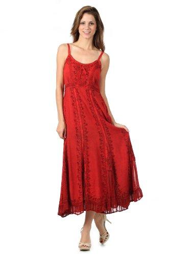 Sakkas Robe Trompette Délavée Taille Empire Vigne Floral Crêpe Incrusté Ourlet Volants Rouge