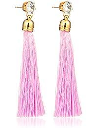 Tiaraz Gold Pearl Long Tassel Draping Extra Long Shoulder Duster Earrings For Women And Girls