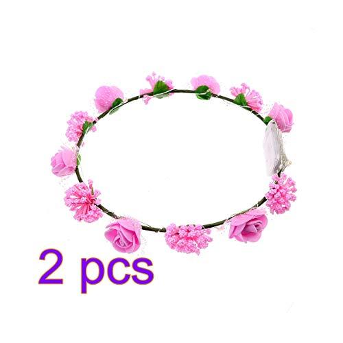 D Rose Blume Kronen Stirnbänder Leuchten Blumenkranz Urlaub Dekorative Halsketten Zubehör Urlaub Partei Liefert (Rosa) ()