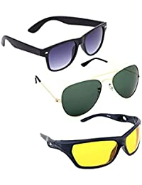eaf2dc8db951 Elligator Stylish Aviator Sunglasses And Nightvision With Wayfarer  Sunglasses Combo (Set of 3)