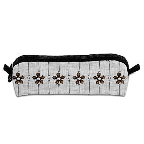 (Skull Flower Stripes Pencil Pouch Bag Stationery Pen Case Makeup Box with Zipper Closure 21 X 5.5 X 5 cm)
