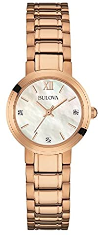 Bulova Diamond Women's Quartz Watch with Mother of Pearl Dial Analogue Display and Rose Gold Stainless Steel Rose Gold Plated Bracelet
