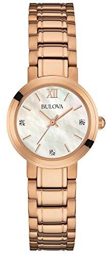 Bulova Diamond-Orologio da donna al quarzo Con quadrante in madreperla, Display analogico e cinturino in acciaio INOX, colore: oro rosa placcato in oro rosa, 97P115