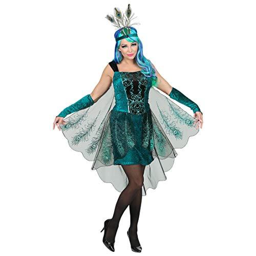 NET TOYS Wunderschönes Pfau-Kostüm für Damen | Türkis-Schwarz in Größe L (42/44) | Majestätisches Frauen-Outfit Pfauen-Kleid | EIN Blickfang für Karneval & Fasching (Sexy Pfau Outfit)