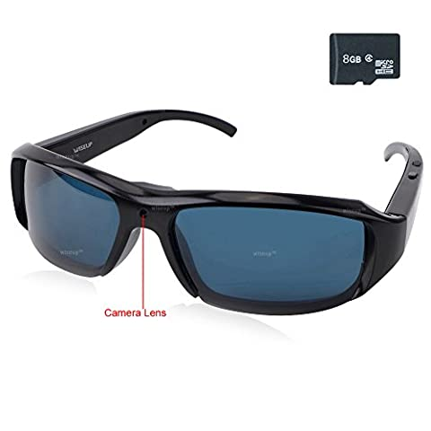 WISEUP 8GB 1920x1080P HD Spy Sunglasses Hidden Eyewear Camera Mini DV Camcorder with Video
