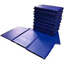 10 x Triple Folding Nursery Sleep Mats in Blue for Children & Toddlers - Next Day Delivery