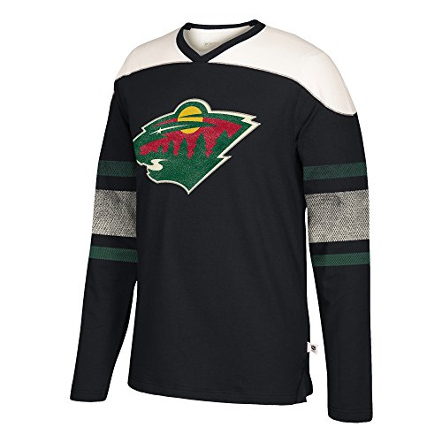 adidas NHL Minnesota Wild Herren CCM L/S Aufnäher crewccm L/S Crew mit Applikation, schwarz, klein -