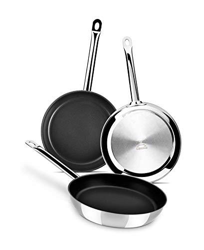 Monix Chef Non-Stick - Set de 3 sartenes 20-24-28 cm, acero inoxidable 18/10 con antiadherente, apta...