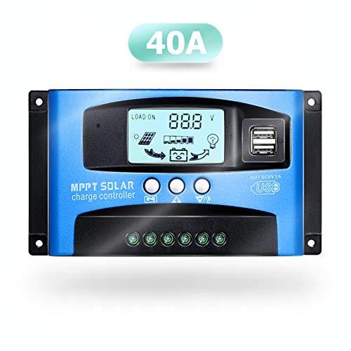 SolaMr 40A Solarladeregler 12V/24V Solarpanel-Batterie Laderegler mit LCD-Display und Doppeltem USB-Anschluss - 40A