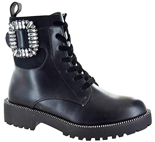 Ladies Womens Black Chelsea Boots Designer Diamante Studded Combat Biker Zip Up Jewel Encrusted Shoes Size 3 to 8