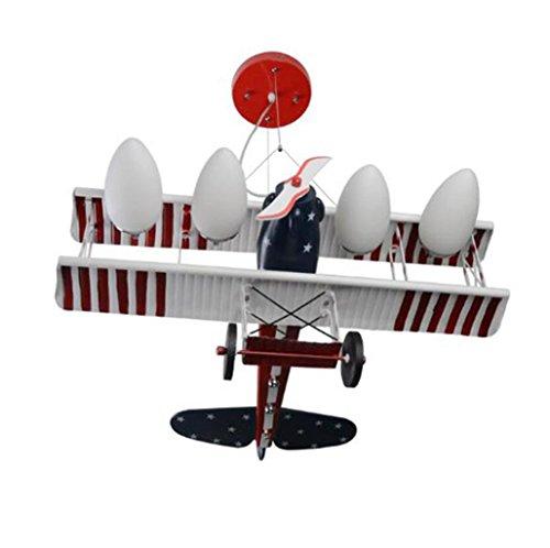 Kreative hauptdekoration led flugzeug kronleuchter kinder schlafzimmer lichter Boy zimmer cartoon beleuchtung rot (Farbe : Luce bianca) (100w Milchglas-lampe)
