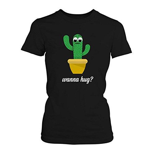 Wanna hug? - Damen T-Shirt von Fashionalarm | Fun Shirt Spruch Spaß Kaktus Cactus Willst du eine Umarmung kuscheln süß niedlich traurig lustig, Farbe:schwarz;Größe:XXL (Cactus Damen-t-shirts)