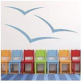 Möwen Print Wandaufkleber Strand Wandtattoo Kunst verfügbar in 5 Größen und 25 Farben Extraklein Weiß