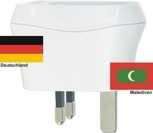 - 41RyrHMIBtL - Design Reisestecker Adapter Malediven auf Deutschland, Schukostecker 230V, Umwandlungsstecker MV-D