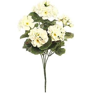 WEFLOWERSFlores de Seda Artificial con Geranio en Crema Flores de 35 cm, Ideal para la Caja de la Ventana Cesta Colgante