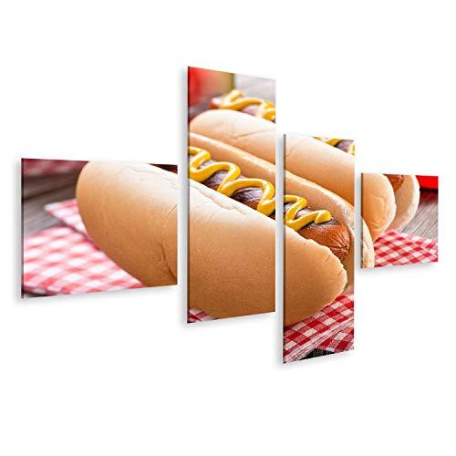 lder auf Leinwand Köstliche gegrillte Hot Dogs auf einem rustikalen Picknicktisch. Wandbild Poster Leinwandbild SYW ()