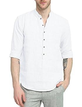 Najia Symbol Camicia Shirt Henley di 100% Lino Collo Alla Coreana Manica Lunga Estiva Uomo