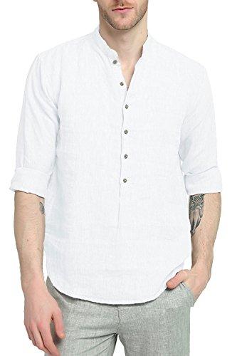 Najia symbol camicia shirt henley di 100% lino collo alla coreana manica lunga estiva uomo (bianco, l)