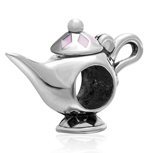 Soulbead lampada di Aladino argento sterling 925con smalto rosa Charm per braccialetti stile
