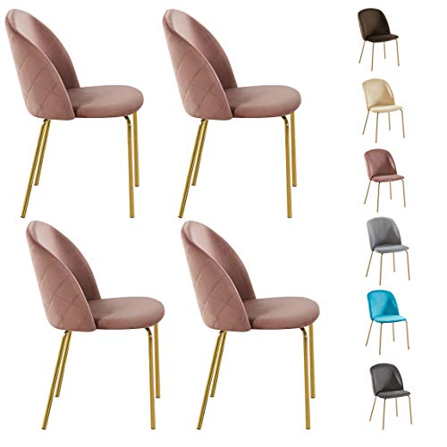 Set of 4 Velvet Dining Chairs with Golden Finish Metal Legs Living Room Chair Dale (Grey)