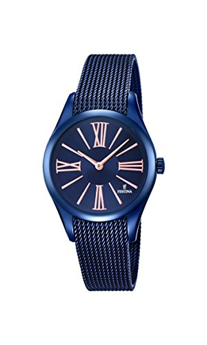 Festina BOYFRIEND Women's Quartz Watch with Blue Dial Analogue Display and Blue Stainless Steel Plated Bracelet F16963/1