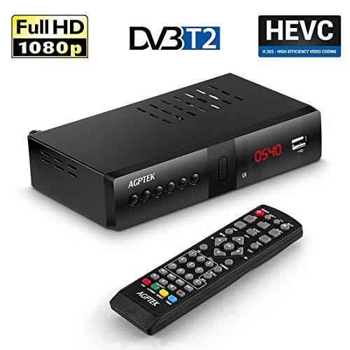 AGPTEK Full HD DVB-T/T2 Receiver Unterstützt HEVC/H.265 / AC3 USB 2.0, 1080P Digitaler HDTV für öffentliche Sender mit 7 Tasten und TV-Programmaufnahmefunktion, Schwarz