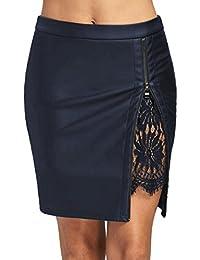 fa460b3fdc78 Frauen Mode Mädchen PU Leder Spitze Uniform Faltenrock VENMO Elastische Taille  Einfarbig A-Linie Röcke Plisseerock Röcke Sommer…