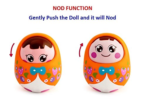 1 Pc.Push and Shake Wobbling Roly Poly Tumbler Doll with Soft & Sweet Bell Sounds - For Ages 3 Months + (Random Colors)